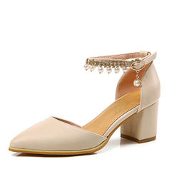 Women's Leatherette Chunky Heel Pumps Closed Toe Mary Jane With Imitation Pearl Buckle Chain shoes
