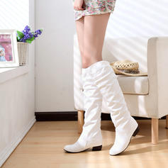 Women's Leatherette Low Heel Closed Toe Boots Knee High Boots Over The Knee Boots With Ruffles shoes