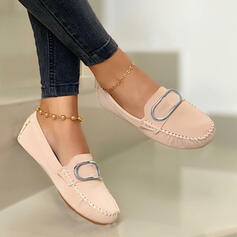 Women's PU Flat Heel Flats Round Toe Loafers Slip On With Solid Color shoes