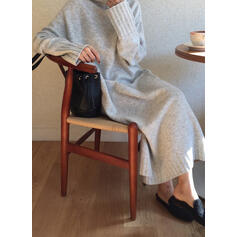 Solid Chunky knit Turtleneck Casual Long Loose Sweater Dress