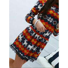 Lace/Animal Print Long Sleeves A-line Above Knee Christmas/Casual Skater Dresses