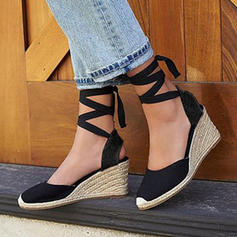 Fabric Wedge Heel Wedges With Lace-up shoes