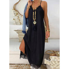 Solid Lace Sleeveless Shift Slip Little Black/Casual/Vacation Maxi Dresses
