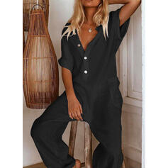 Solid Short Sleeves Casual/Vacation Jumpsuits Dresses