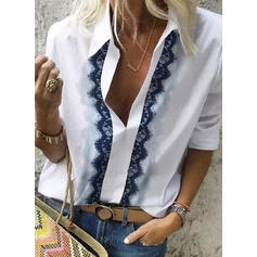 Solid Lace Lapel Long Sleeves Casual Shirt Blouses
