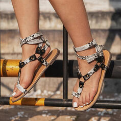Women's PU Flat Heel Sandals With Buckle shoes