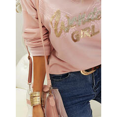 Figure Print Sequins V-Neck Long Sleeves T-shirts