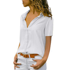 Solid Lapel Short Sleeves Button Up Casual Elegant Shirt Blouses