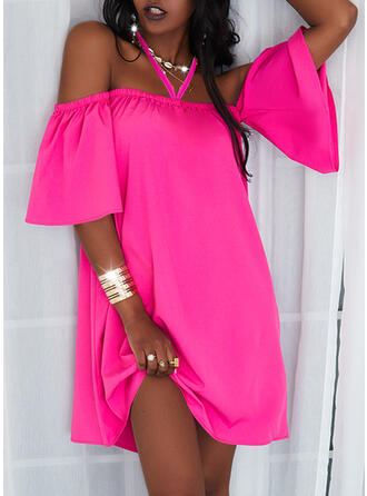 Solid 1/2 Sleeves Flare Sleeve Shift Above Knee Casual Dresses