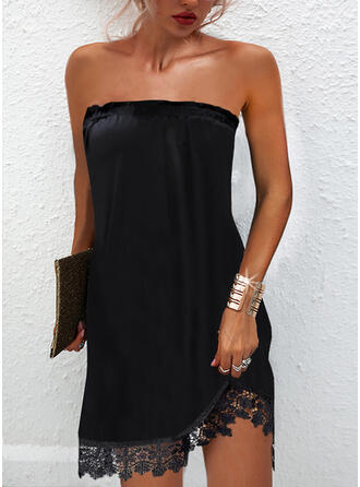 Lace/Solid Sleeveless Shift Above Knee Little Black/Party Dresses