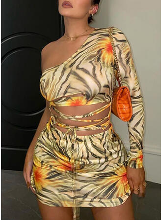 Print Long Sleeves Bodycon Above Knee Sexy/Casual Dresses