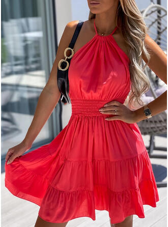 Solid/Backless Sleeveless A-line Above Knee Sexy/Vacation Skater Dresses