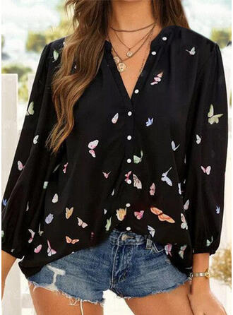 Print Butterfly V-Neck Long Sleeves Casual Button Blouses