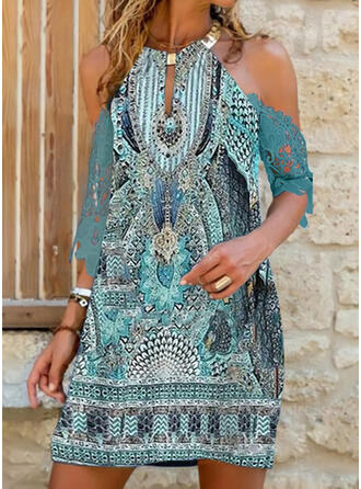 Lace/Print 3/4 Sleeves Shift Above Knee Casual/Vacation Tunic Dresses