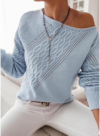 Solid Cable-knit One Shoulder Casual Sweaters