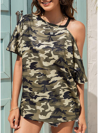 Print Camouflage One Shoulder Short Sleeves Casual Blouses