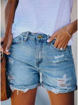 Above Knee Casual Vintage Ripped Pants Shorts Denim & Jeans