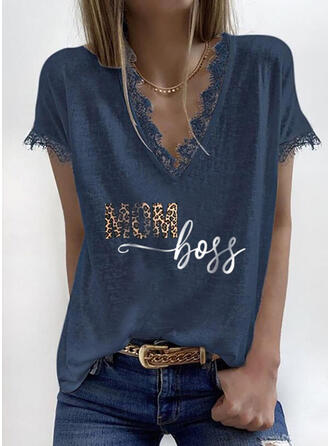 Print Lace Leopard Letter V-Neck Short Sleeves Casual Mother's Day Blouses