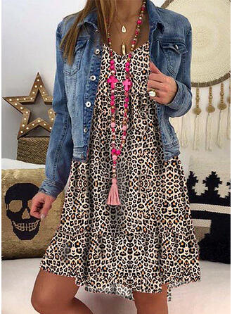 Leopard/Backless Long Sleeves Shift Knee Length Casual Tunic Dresses