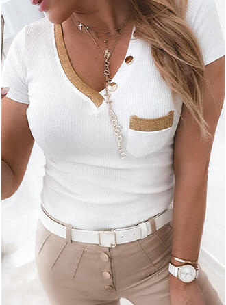 Color Block V-Neck Short Sleeves Button Up Casual Knit Blouses
