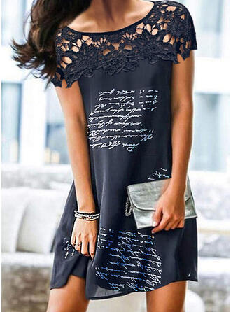 Lace/Print/Hollow-out/Letter Short Sleeves Shift Above Knee Elegant Dresses