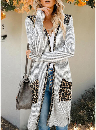 Long Sleeves Print Striped Leopard Cardigans