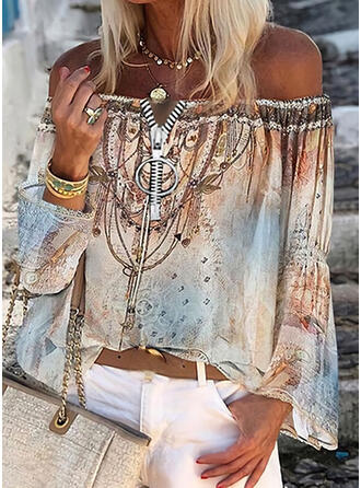 Print Off the Shoulder Flare Sleeve Long Sleeves Casual Blouses