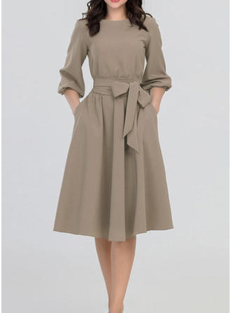 Solid Long Sleeves A-line Knee Length Vintage/Casual/Party/Elegant Dresses