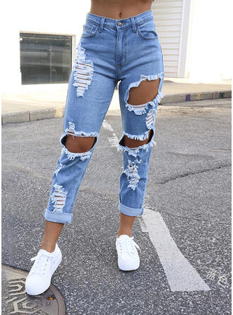 Solid Cotton Cropped Casual Plus Size Pocket Ripped Pants Denim & Jeans