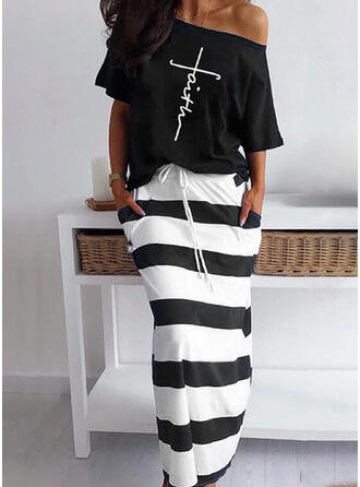 Striped Print Letter Linen Cotton Casual Plus Size Two-Piece Outfits