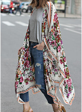 Polyester Long Sleeves Print Floral Trench Coats