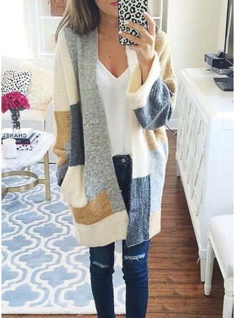 Knit Long Sleeves Color Block