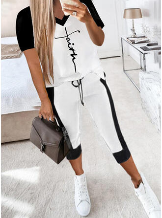Color Block Print Letter Casual Plus Size Drawstring Two-Piece Outfits
