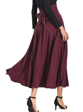 Polyester Plain Mid-Calf A-Line Skirts