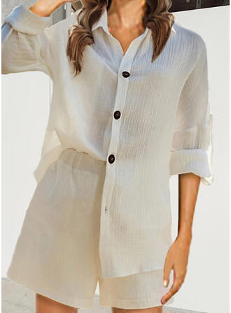 Solid Casual Blouse & Two-Piece Outfits Set