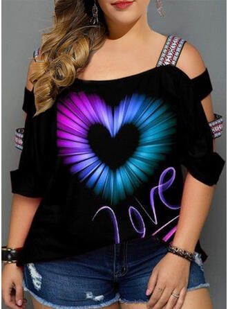 Print Heart Cold Shoulder 3/4 Sleeves Casual Plus Size Blouses