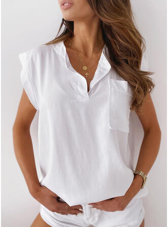 Solid Pockets V-Neck Short Sleeves Casual Blouses