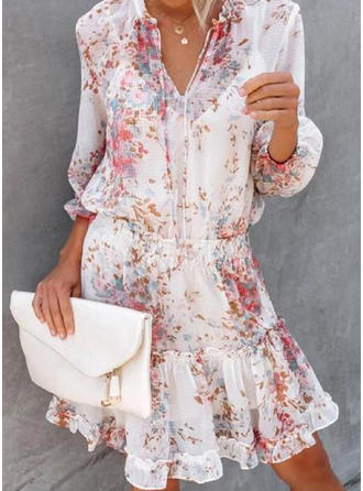Print/Floral 3/4 Sleeves A-line Knee Length Casual Skater Dresses