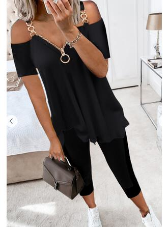Solid Casual Plus Size Chains Two-Piece Outfits