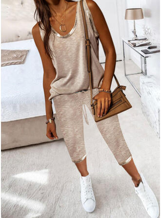 Solid Casual Plus Size Drawstring Pants Two-Piece Outfits