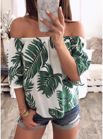 Print Off the Shoulder 1/2 Sleeves Casual Blouses