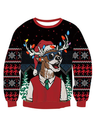 Unisex Polyester Print Reindeer Ugly Christmas Sweater
