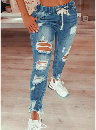 Lungo Sexy Vintage strappato coulisstring Pantaloni Denim & Jeans