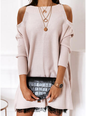 Solid Lace Cold Shoulder Casual Long Sweater Dress