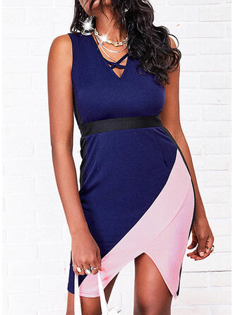 Color Block Sleeveless Bodycon Above Knee Casual Dresses
