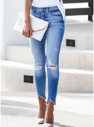 Solid Long Casual Pocket Shirred Ripped Button Pants Denim & Jeans