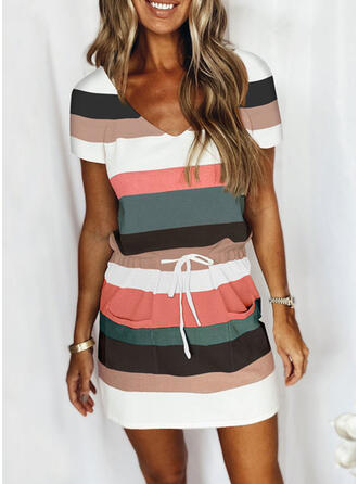 Striped Color Block Casual Plus Size Drawstring Two-Piece Outfits