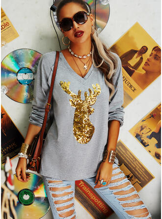 Animal Print Sequins V-Neck Long Sleeves T-shirts