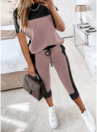 Color Block Casual Plus Size Drawstring Pants Two-Piece Outfits