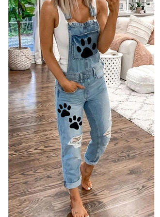 Print Animal Cotton Long Casual Plus Size Pocket Ripped Denim & Jeans Jumpsuits & Rompers